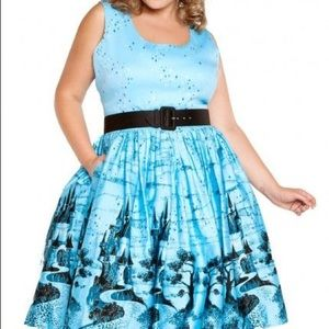 Pinup Couture Aurora Dress Blue Castle Print 4X